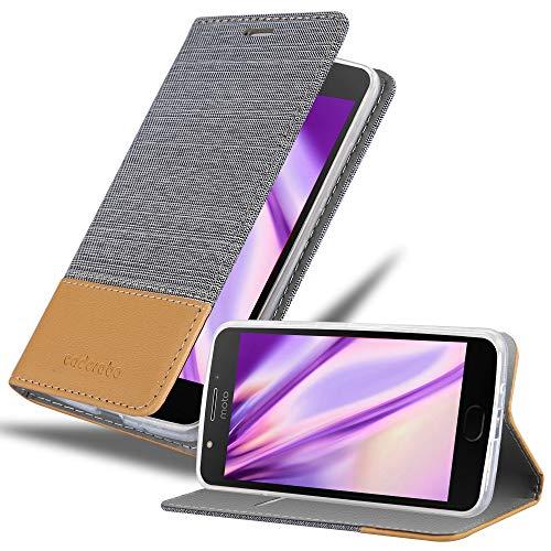 Cadorabo Coque pour Motorola Moto E4 en Gris Clair Marron - Housse Protection avec Fermoire Magnétique, Stand Horizontal et Fente Carte - Portefeuille Etui Poche Folio Case Cover