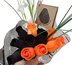 Halloween Black and Orange Flower Bouquet Wooden Roses Closed bud
