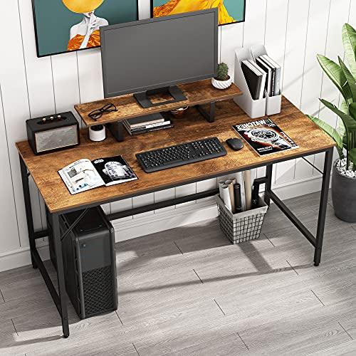 HOMEYFINE JOISCOPE Computertisch,Laptop-Tisch mit Stauraum für Controller,55 Zoll,Holz und Metall,Arbeitstisch für das Heimbüro(Eiche Vintage-Ausführung)