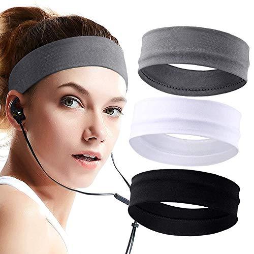 Stirnband für Damen 3St, Elastische Herren Sport Schweißband Baumwolle Lauf Kopfband, rutschfeste Schweißbänder Haarband Übung Fitness Stirnbänder für Make-up Yoga Radfahren - Schwarz Grau Weiß