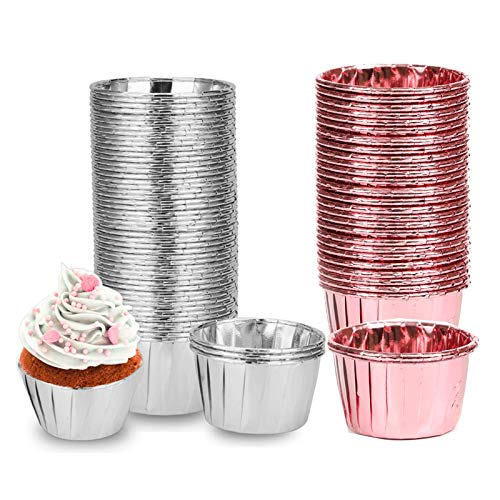 100 Piezas Papel de Aluminio para Cupcakes, Cápsulas para Cupcakes, Forro de Aluminio Grueso para Cupcakes, para Boda, Vacaciones, Baby Shower, Fiesta de Cumpleaños (Oro rosa, plata)