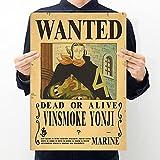 "Wuawtyli Poster ""Wanted"", ""One Piece Poster Wanted'', Luffy, Zoro, Nami, Sanji, Usopp, Chopper, Robin, Brook, Franky, Ace ,42*28.5CM, in Carta Kraft"