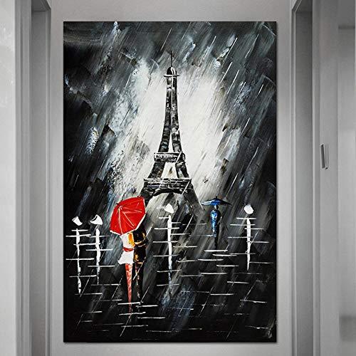BIOAOUA Leinwandbilder Wohnzimmer Leinwanddruck Kunst Poster Drucken Wandbild Regen Rot Regenschirm Paar Turm Landschaft Dekoration Gemälde-B Frame_50X75 cm