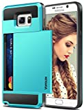 Vofolen Case for Galaxy Note 5 Case Wallet Card Holder ID Slot Dual Layer Protective Cover Anti-scratch Hard Shell Shock Absorbing TPU Soft Tough Bumper Armor Case for Samsung Galaxy Note 5 (Sky Blue)