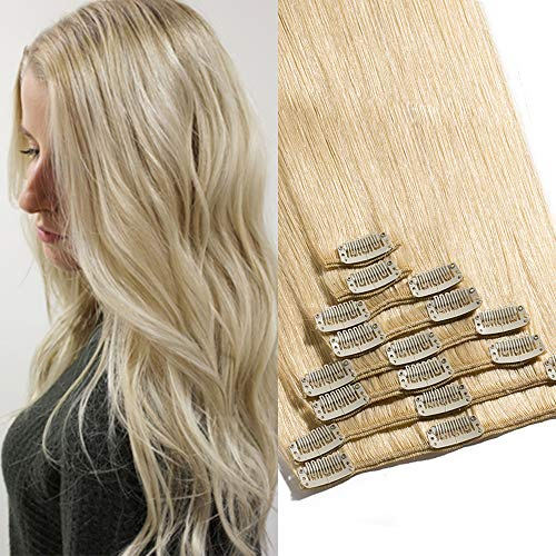 TESS Clip in Extensions Echthaar Haarteile Haarverlängerung Standard Weft Grad 7A Lang Glatt guenstig Remy Human Hair 8 Tressen 18 Clips 40cm-90g(#613 Hell-Lichtblond)