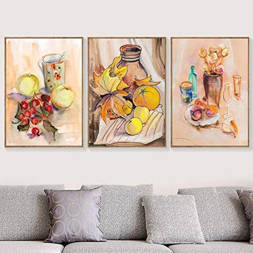 cuadros decoracion salon Manzana naranja fruta copa de vino óleo lienzo pintura carteles nórdicos e impresiones cuadros de pared para sala de estar cocina ecor 15.7x19.7in (40x50cm) x3pcs NoFrame