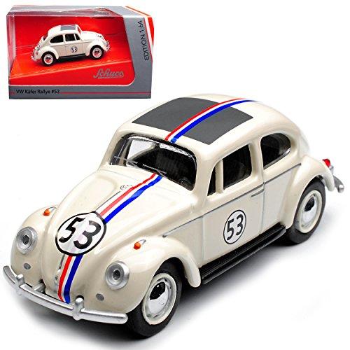 Schuco Volkwagen Käfer Coupe Herbie Rally Nr 53 Cream Weiss 1/64 Modell Auto