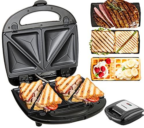 3in1 Sandwichmaker | 850 Watt | 3 auswechselbare Platten | Waffeleisen | Kontaktgrill | Elektrogrill | Multigrill | Sandwich Maker | Waffel Eisen