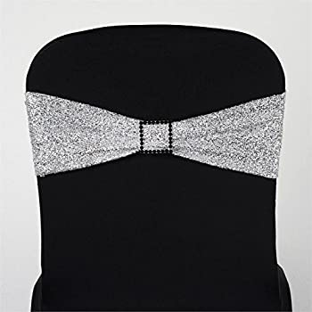 BalsaCircle 10 Silver Metallic Spandex Chair Sashes Bows Ties - Wedding Party Ceremony Reception Decorations Cheap Supplies