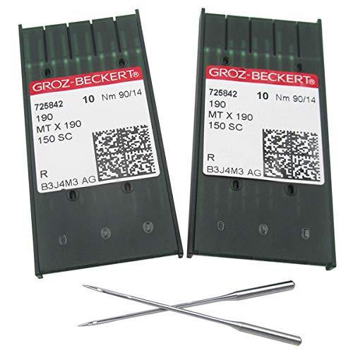 Aguja Groz-Beckert MTX190 - 20 agujas Groz-Beckert compatibles con PFAFF 145 190 545 595 1245 1545 (20 piezas Groz-Beckert-MTX190 14/90)