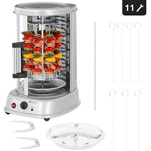 Royal Catering Grill Verticale Elettrico Grill Elettrico Verticale Professionale RCGV-1400 (3-in-1, Potenza: 1.500 W, Temperatura fino a 120 °C, Timer di 60 min)