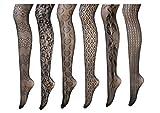 Presox medias del fishnet Pantys medias de malla de nylon sin costuras sin dedos para mujeres 6 Pack