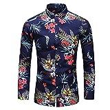 HDDFG Camisa de otoño para hombre, camisa de diseño único, camisa de manga larga estampada a rayas, camisa de oficina informal ajustada para hombre, M-7XL (Color : C, Size : M code)