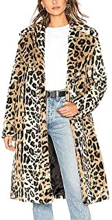 Kendall + Kylie Women's Faux Fur Coat, Leopard, XL Gold and Brown