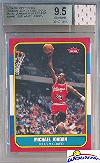 92e87e486bb 1986 Fleer Michael Jordan Rookie Replica with Piece of Authentic Michael  Jordan Chicago Bulls GAME USED