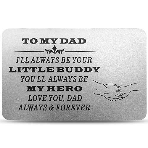 Personalized Engraved Metal Card Insert from Son Kids - Birthday Christmas Fathers Day Thanksgiving - Custom Love Note Wallet Insert Cards for Dad Daddy