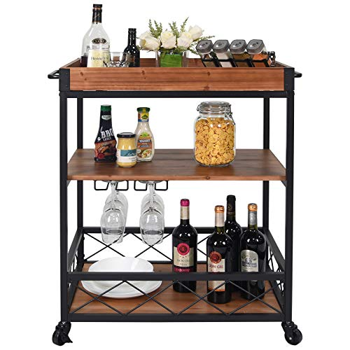 CharaVector Solid Wood Bar Serving Cart,Rolling Kitchen Storage Cart for the Home with Wine Glass Rack and Lockable Caster,Rustic Brown