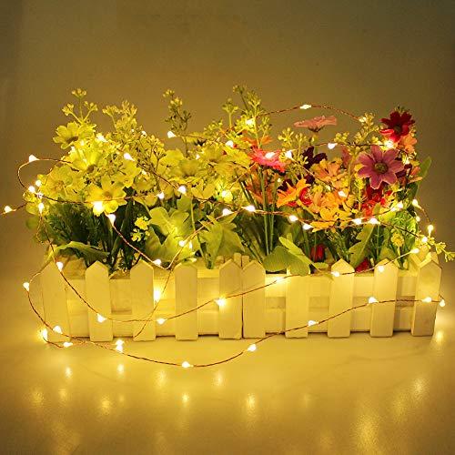 TIREOW LED Lichterkette, 40er LEDs Lichterkette Kupferdraht Batterienbetrieben LED Kupfer Drahtlichterkette 4m String Licht Weihnachtsbeleuchtung für Wasserdicht, Garten Hochzeit Party (Gelb)
