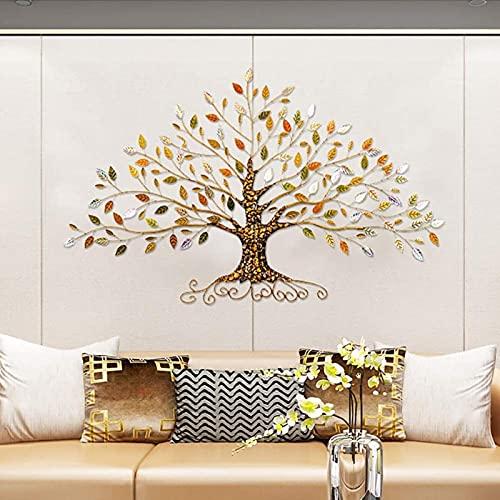 Moderno árbol de la vida, escultura de decoración de pared de metal, dorado, gris, hojas azules, metal artesanal artesanal, acabado rústico envejecido, hierro lacado, bajorrelieve