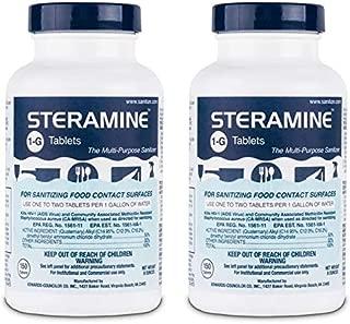 Steramine Sanitizing Tablets For Sanitizing Food Contact Surfaces, Kills E-Coli, HIV, Listeria, 1-G 150 Sanitizer Tablets per Bottle, Blue, Pack of 2 Bottles