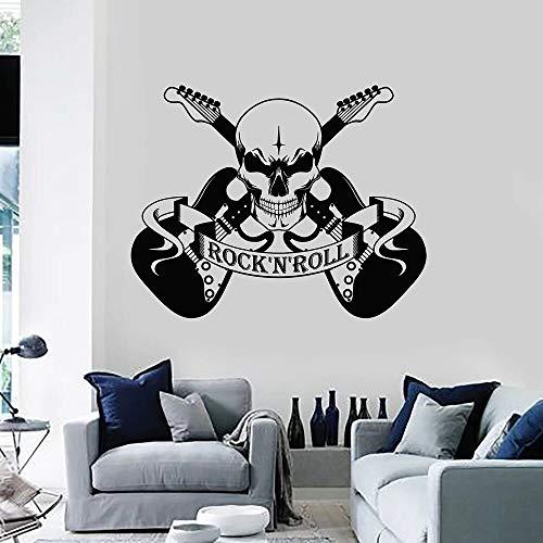 wopiaol Cool stijl muur Decal Scary schedel muziek rock en roll elektrische gitaar muurschildering tieners slaapkamer muziek Studio Decor Vinyl Stickers