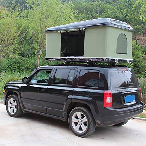 2-3 People Car Roof Tent Hard Shell Automotive Rooftop Tent, With Aluminum Alloy Folding Ladder, Green Tent + Black Shell