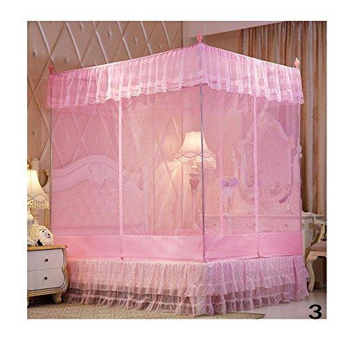 Binglinghua Luxus Faltbares Moskitonetz Prinzessin Blume für Bett Studenten Insektennetz Moskitonetz Vorhänge (rosa, 180 m x 200 m x 170 m)