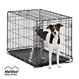 Dog Crate | MidWest ICrate 30 Inch Folding Metal Dog Crate w/ Divider...