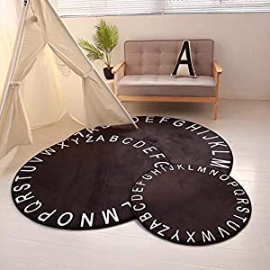 HOUTBY Round Crystal Velvet Baby Play Mat Cute Cartoon Kids Rug Household Carpet Child Tent Nursery Rooms Decoration