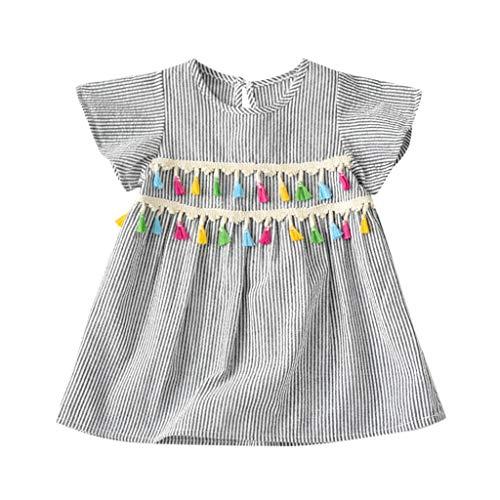 Bébé Fille Été Rayures Robe de Princesse,Ewendy Manche Courte Gland Robe Convient pour 12 Mois-5 Ans (12-18 Mois, Blanc)
