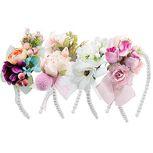 Haarband mit Blumen und Perle, MOOKLIN 4 Stück Stirnband Haarband Kopfschmuck Haarbänder Mehrfarbig Blume Haarreife mit elastischem Band für Frauen Mädchen Festival Hochzeit und Party