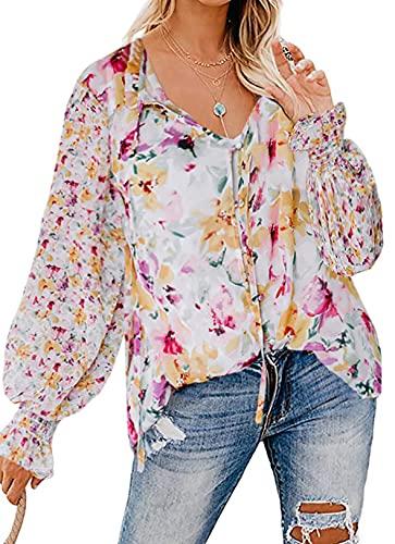 Eytino Women Casual Boho Floral Print V Neck Long Sleeve Drawstring Blouse Tops,Medium Pink