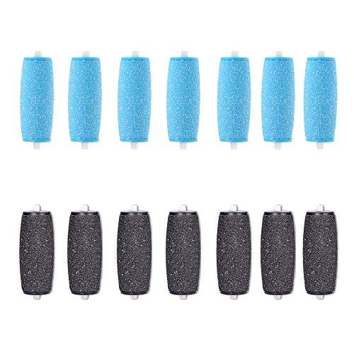 14er-Pack Extra Grob Mineral Ersatzrollen kompatibel Mit Velvet Smooth Hornhautentferner Nachfüll-Rollen mit Diamantpartikeln(7 extra grobe und 7 gleichmäßige grobe )