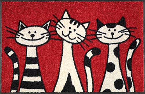 Wash+Dry - Tapis Three Cats 50x75, Rouge