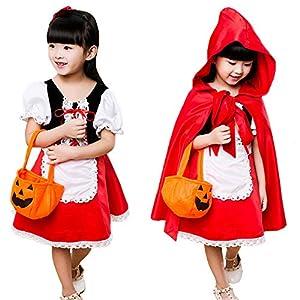 Neky ハロウィン 仮装 子供 赤ずきん コスプレ衣装 女の子 赤ずきんちゃん ハロウィーン キッズコスチューム 5点セット 150