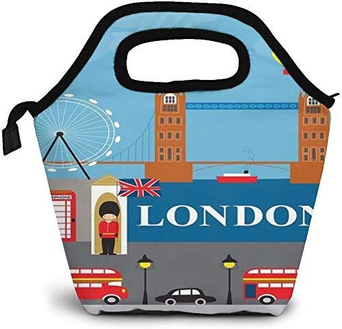 Bolsa de almuerzo aislada con póster británico, caja Bento personalizada, enfriador de Picnic, bolso portátil, bolsa de almuerzo para mujeres, niñas, hombres, niños