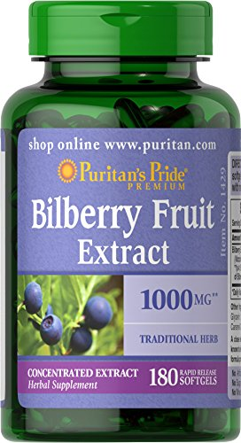 Bilberry 4:1 Extract by Puritan's Pride®, Contains Antioxidant Properties*, 1000mg Equivalent, 180 Rapid Release Softgels