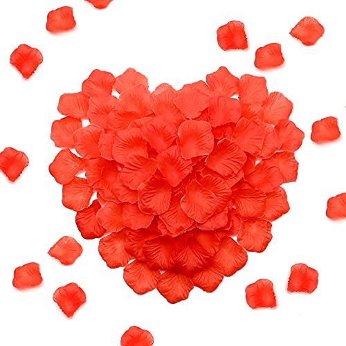 1000 petali di rosa, coriandoli artificiali, per matrimoni, feste nuziali, romantiche per matrimoni, matrimoni, matrimoni, proposte di matrimonio, colore: rosso (4,5 x 5 cm)