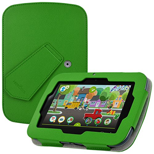 LeapPad Academy Case & Leapfrog Epic Academy Case - HOTCOOL New PU Leather with Kickstand Cover Case for LeapPad Academy & Leapfrog Epic Academy 7' Tablet, Green