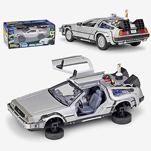 WEaston 1:24 Modelo de aleación Metal Metal Casting Coche Volver al Futuro Máquina Time Supercar Miniauto Roadster Adult Colección Adornos Decoraciones Regalos de Juguetes para niños fengong
