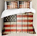 Juego de funda nórdica con bandera estadounidense, bandera de EE. UU. Sobre tabla de madera con rayas verticales Obra de solidaridad ciudadana, juego de cama decorativo de 3 piezas con 2 fundas de alm