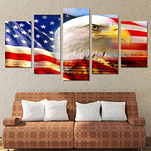 Chuixiaoxiao1 Modern Canvas Prints 5 Piece Wall Art American National Bird Home Decoration Painting Printed on Canvas for Bedroom Living Room Bathroom Office Home Decoration