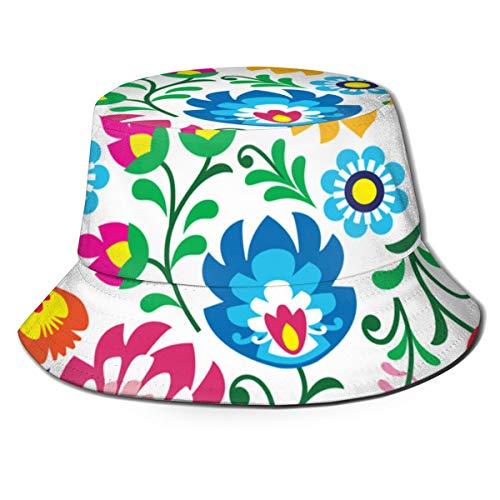 Unisex czapka typu bucket kwiatowy polski wzór sztuki ludowej w kwadratowym tle przeciwsłonecznym czapka rybacka