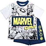Avengers Schlafanzug Jungen Marvel Shorty Pyjama (Blau, 140-146)