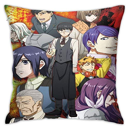 TIFMOCO Tokyo Ghoul Domestic Throw Pillow Cover 18 x 18 Inches Decorative Pillow Covers for Home Decor, Sofa, Bedroom, Car