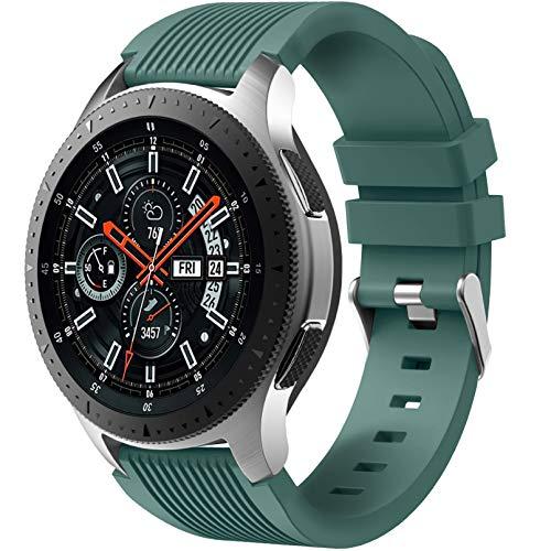 Dirrelo Correa Compatible con Samsung Galaxy Watch 3 45mm/Galaxy Watch 46mm/Huawei GT 2 46mm, 22mm Deportiva Muñequeras Suave Silicona para Samsung Gear S3 Frontier, Hombres Mujeres, Pino verde