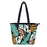Bolsas de hombro con hojas de verano para mujer, resistente al agua, bolsa de mano duradera, con bolsillos con cremallera, para mujeres y niñas