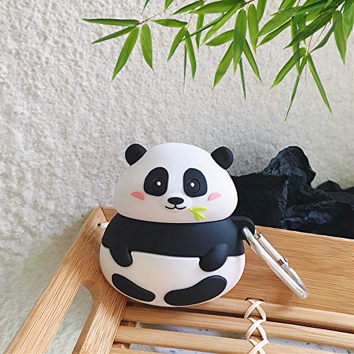 ICI-Rencontrer 3D Creative Distinctive Vivid Bamboo Panda Cartoon Animals Air pods Cover Cute Soft Silicone Wireless Earphone Shockproof Protector Compatible with Airpods 1 & 2 Hook Black and White