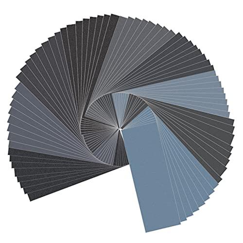 Schleifpapier Set Nass und Trocken 400 600 800 1000 1200 1500 2000 2500 3000 Körnung 23 x 9.3 cm für Polieren Auto Metall Holz Möbeln 72 Stück