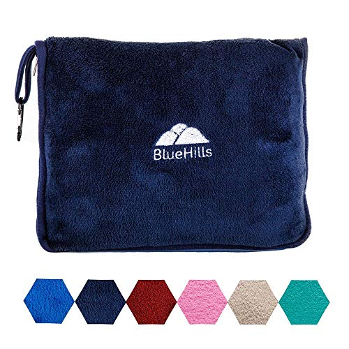 BlueHills Premium Soft Travel Blanket Pillow Airplane Blanket Packed in Soft Bag Pillowcase with Hand Luggage Belt and Backpack Clip, Compact Pack...